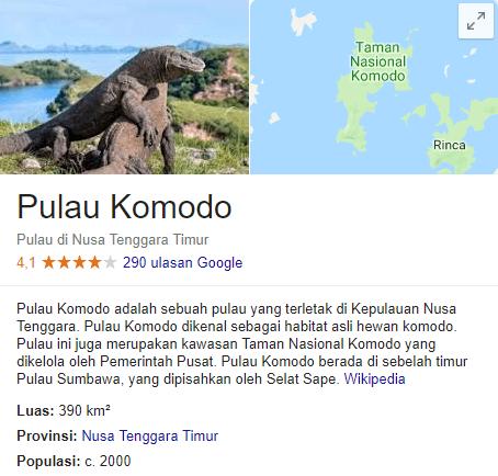 pulau komodo di tutup